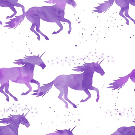 watercolor unicorns || bright purple fabric by littlearrowdesign on Spoonflower - custom fabric