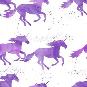 watercolor unicorns || bright purple