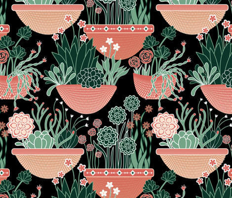 Sunset succulents fabric by vo_aka_virginiao on Spoonflower - custom fabric