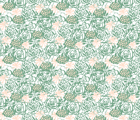 Succulent floral fabric by blissdesignstudio on Spoonflower - custom fabric