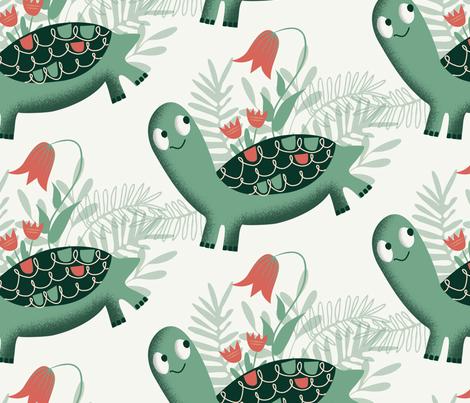 Tortoise and flowers ~ on cream fabric by retrorudolphs on Spoonflower - custom fabric