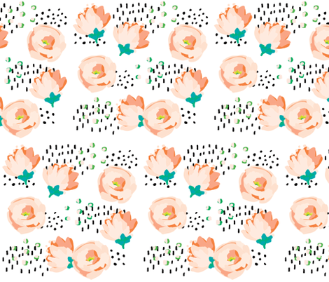 Brush Floral VII fabric by kandsdotco on Spoonflower - custom fabric