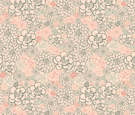 Succulent Field Salmon Pink fabric by vinpauld on Spoonflower - custom fabric