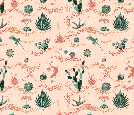 Desert Succulent Garden fabric by ajunebug on Spoonflower - custom fabric