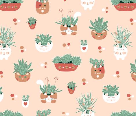 Cacti & Kitties  fabric by moonpuff on Spoonflower - custom fabric
