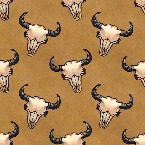 Bison Skulls With Tan fabric by linda_baysinger_peck on Spoonflower - custom fabric