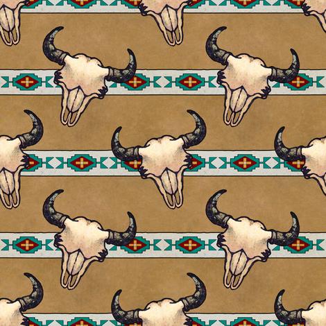 Bison Skulls Tan Stripe fabric by linda_baysinger_peck on Spoonflower - custom fabric