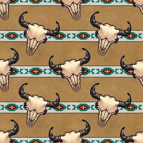Bison Skulls Tan Stripe