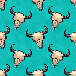 Bison Skulls Turquoise Texture Look