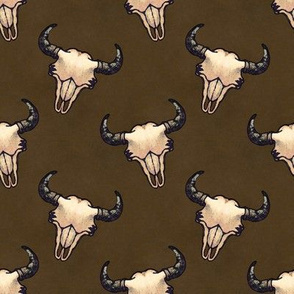 Bison Skulls Dark Brown
