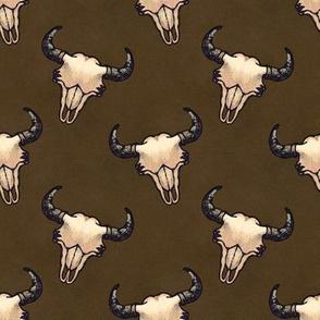 Bison Skulls Dark Brown