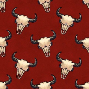 Bison Skulls Dark Red Textured Look