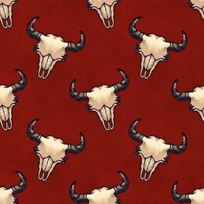 Bison Skulls Dark Red Textured Look