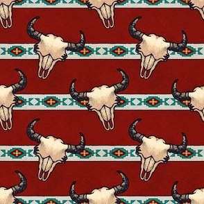Bison Skulls Dark Red Stripes