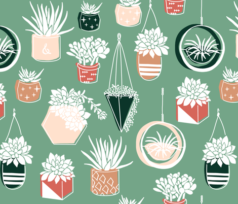 Potted Desert Succulents fabric by frostdesignco on Spoonflower - custom fabric