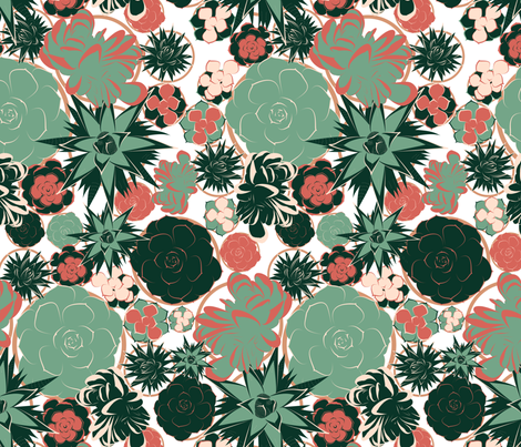 Succulents fabric by catashtrophe on Spoonflower - custom fabric