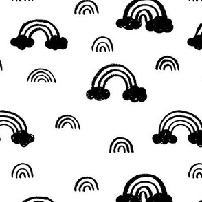 Black and white Scandinavian abstract rainbow clouds sky gender neutral