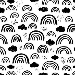Black and white Scandinavian abstract rainbow clouds happy rain sky gender neutral