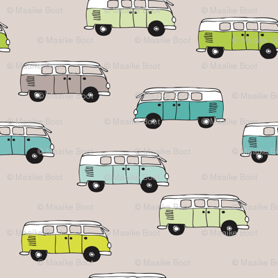 Cute vintage bohemian summer hippie van in blue lime and beige illustration pattern for kids XXS
