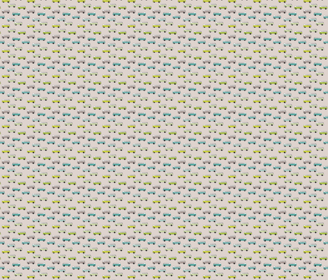 Cute vintage bohemian summer hippie van in blue lime and beige illustration pattern for kids XXS fabric by littlesmilemakers on Spoonflower - custom fabric