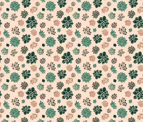 Handrawn_succulents_on_pink fabric by samantha_w on Spoonflower - custom fabric