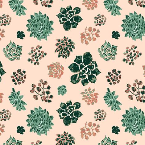 Handrawn_succulents_on_pink fabric by samantha_w on Spoonflower - custom fabric