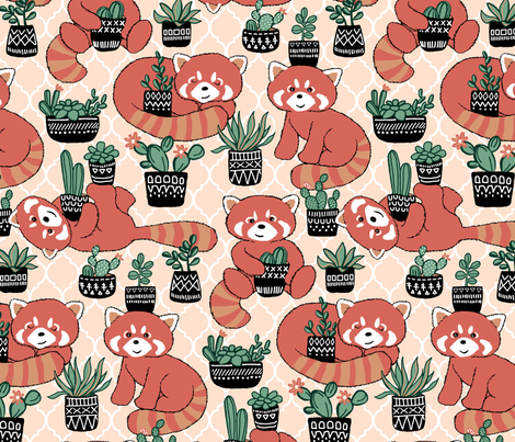 Red Panda & Potted Succulent Party fabric by micklyn on Spoonflower - custom fabric