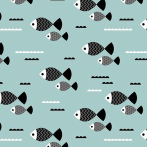 Cool geometric Scandinavian style fish ocean marine design smokey blue