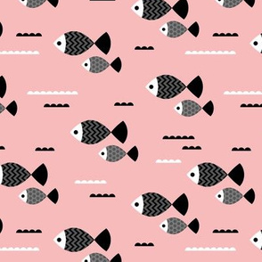 Cool geometric Scandinavian style fish ocean marine design smokey pink