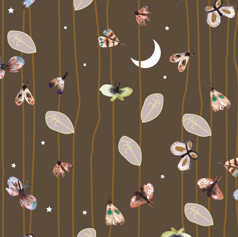 Fable moths in the moon (chocolate) fabric by nouveau_bohemian on Spoonflower - custom fabric