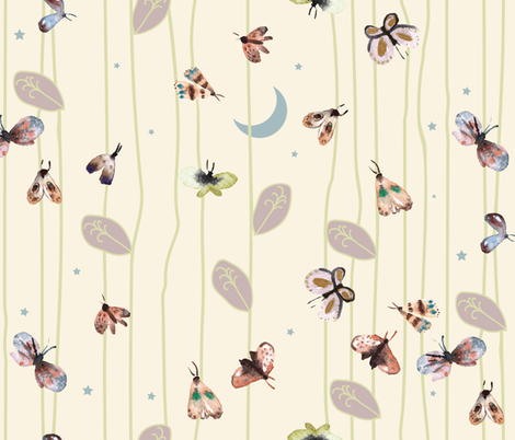Fable moth in the moon (cream)(LARGE) fabric by nouveau_bohemian on Spoonflower - custom fabric