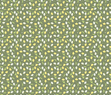 Narcissus and snowdrops fabric by marinademidova on Spoonflower - custom fabric