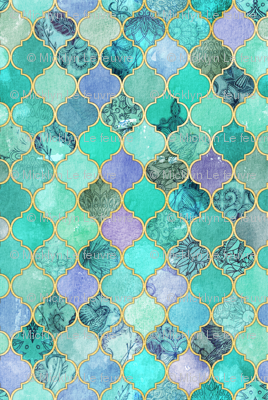 Pale Mint & Lilac Decorative Moroccan Tiles with Gold Edges tiny version