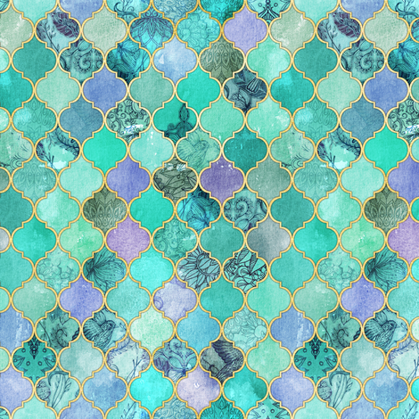 Pale Mint & Lilac Decorative Moroccan Tiles with Gold Edges tiny version fabric by micklyn on Spoonflower - custom fabric