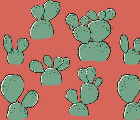 Bunny Ear Cactus fabric by meowandcraft on Spoonflower - custom fabric