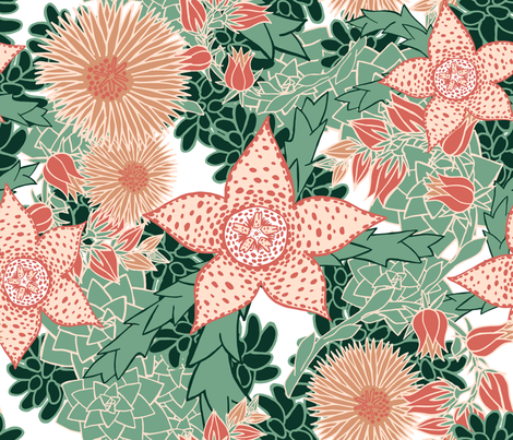 Succulents in Bloom fabric by pinky_wittingslow on Spoonflower - custom fabric