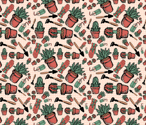 Cacti Garden fabric by ally_the_junebug on Spoonflower - custom fabric