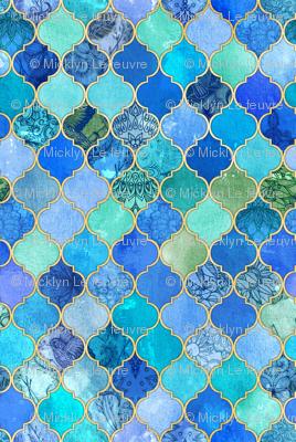 Cobalt Blue and Aqua Decorative Moroccan with Gold Tiny Print