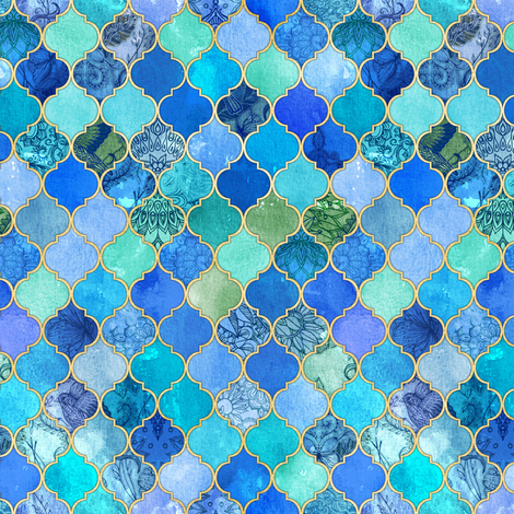 Cobalt Blue and Aqua Decorative Moroccan with Gold Tiny Print fabric by micklyn on Spoonflower - custom fabric