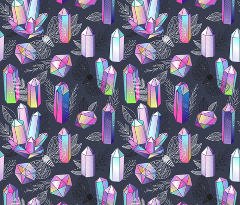 Moths and crystals fabric by marinademidova on Spoonflower - custom fabric