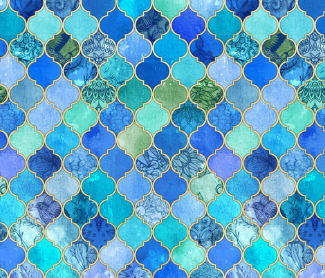 Cobalt Blue and Aqua Decorative Moroccan Tiles with Gold fabric by micklyn on Spoonflower - custom fabric
