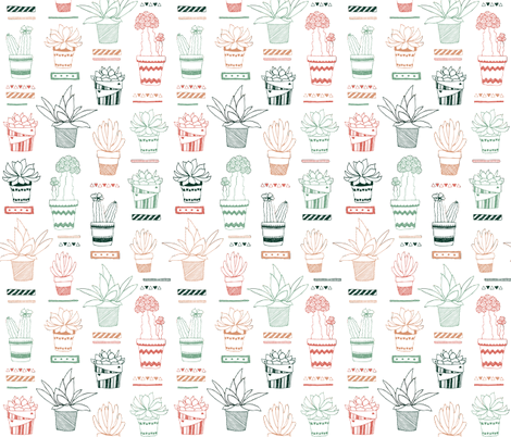 Doodle Succulents fabric by jenuine_designs on Spoonflower - custom fabric
