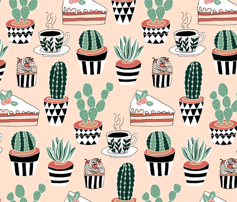 Cacti, Coffee and Cake fabric by tangerine-tane on Spoonflower - custom fabric
