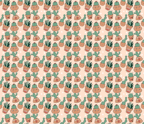 Hairstyles of the Cactis and Succulents fabric by how-store on Spoonflower - custom fabric