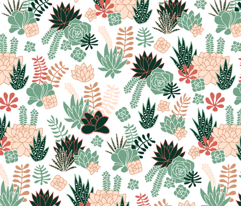 Succulent desert garden in cool green and earth coral fabric by heleen_vd_thillart on Spoonflower - custom fabric
