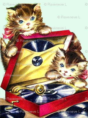 cats kittens vinyl records turntables record players music vintage retro kitsch
