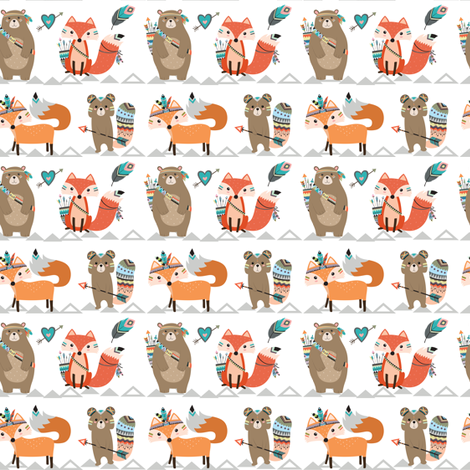 Tribal Woodland Creatures - Smaller fabric by rocky_rocks_designs on Spoonflower - custom fabric