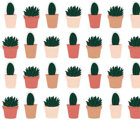 potted succulents- large fabric by dafnag on Spoonflower - custom fabric