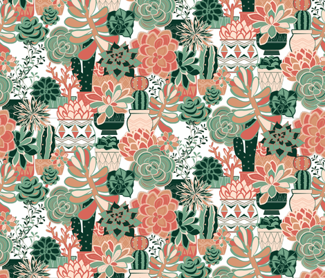 succulent-pattern-spoon-repeat-larger2 fabric by michaelzindell on Spoonflower - custom fabric