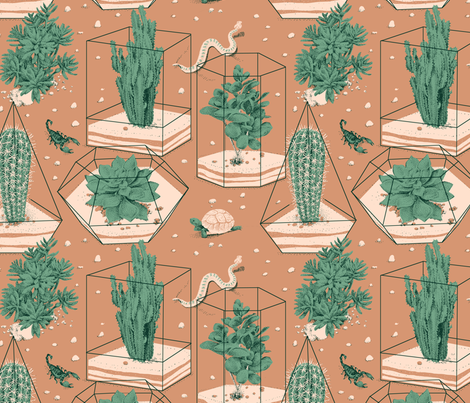 Succulents terrarium fabric by se_kyoung on Spoonflower - custom fabric